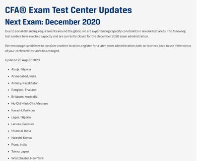 CFA协会再次更新12月CFA考点已满名单!又添加7个哦!